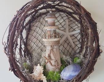 Grapevine Wreath Lighthouse