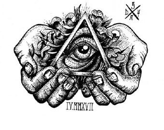 Illuminati Eye traditional dotwork print
