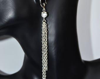 Long Pearl Chain Earrings Chain drop earrings with Freshwater Potato Pearls   Long earrings Pearl Jewellery