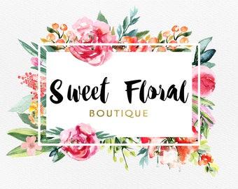 Premade Logo - Watercolor Logo - Flower Logo - Floral Logo - Rectangular logo - Feminine Cute Logo- Business Logo - Colorful logo - Boutique