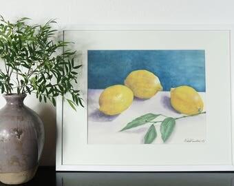 "Lemons on a table, Original Watercolor Painting, Wall Decor, Art Print, Size: 30 x 40cm (11.8"" x 15.7"")"