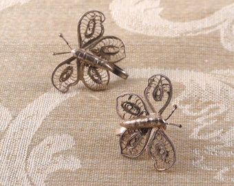 Vintage Mexican Sterling Silver Filigree Butterfly Earrings c1950s screw back