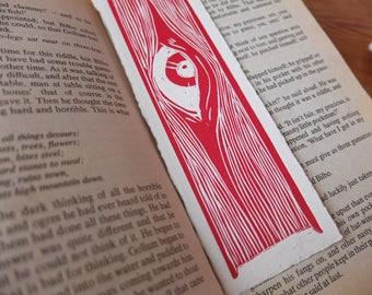 Handmade Bookmark Linocut Print Hand Pulled