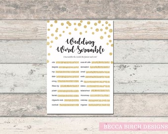Wedding Word Scramble – Bridal Shower Games – Couples Wedding Shower Games – Coed Games – Gold Glitter – Printable Games – Instant Download