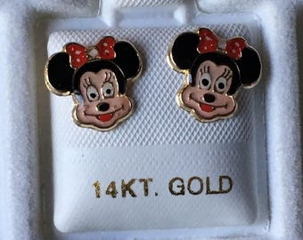 14k Gold Earrings - Minnie Mouse