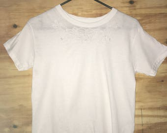 Hand Embroidered White T-shirt