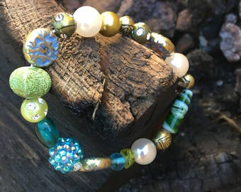Aqua, lime beads with large pearl bracelet