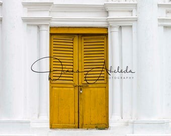 Yellow door digital photography backdrop/print, travel photography, wanderlust