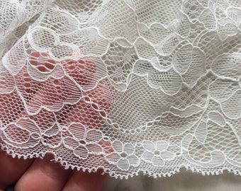 White lace trim, streth lace, wide stretch lace, double scallop edge, 17cm width, per yard