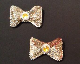 Gold Sequin shoe clips