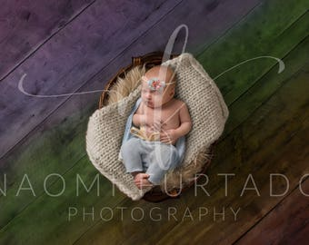 Digital Background - Rainbow Wood Floor, Basket with Layers - Brown and Cream