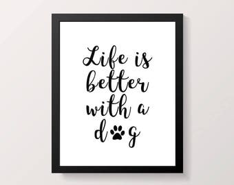Life is better with a dog print, dog quote, dog lover wall print, gift for dog lover