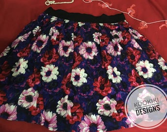 Floral Fit & Flare skirt- cotton sateen- high waist design- Can be made to fit- Homemade design AU