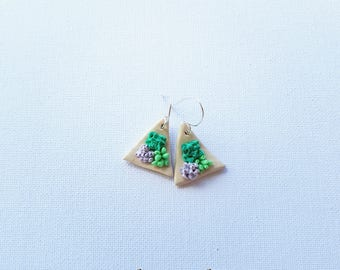 Sassy succulent, polymer clay earring and sterling silver shepherds hook