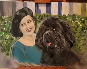 Ritratto personalizzato su ordinazione ESEMPIO - Custom order owner and her champion dog