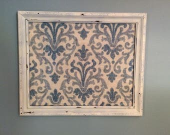 repurposed vintage-look frame and fabric art