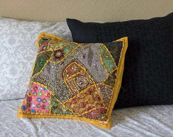 Hand Sewn Pillow Case made from Indian Wedding Dresses