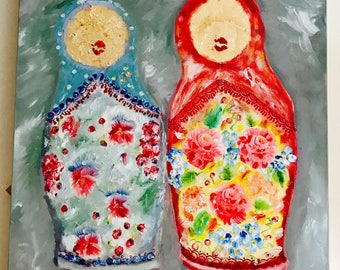 Large Oil Painting Matryoshka Russian dolls on canvas