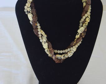 Brown Twisted Beaded Necklace