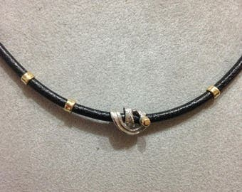 Silver necklace 925, 750 gold and brown leather