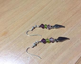 wing charmed earrings