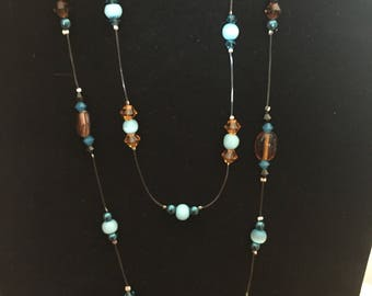 Double stranded beaded necklace