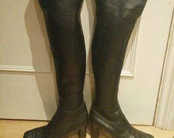 Vintage 60s 70s Mod Hippy Psych GOGO Glam Rock Over Knee Thigh Boots