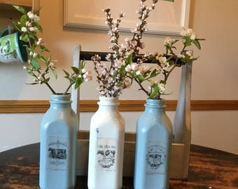 Milk Bottle Decor, Vase, Fresh Flowers, Farm Fresh, Rustic Decor, Housewarming, New Baby, Farmhouse Decor