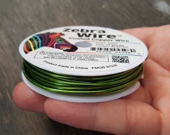 5 yard spool zebra coated copper wire, lime zebra wire round gauge 14.