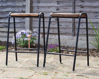 Set of Four Up-cycled Wooden Topped Retro Stools