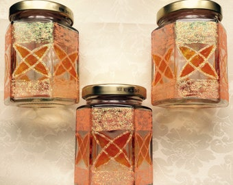 Orange Art Deco glass set