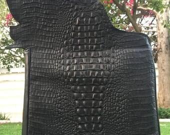 K.Lou squared bag fashionable black with gold logo