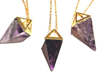 Carved Amethyst Crystal Quartz Pyramid Point Pendant on GP Chain 2C