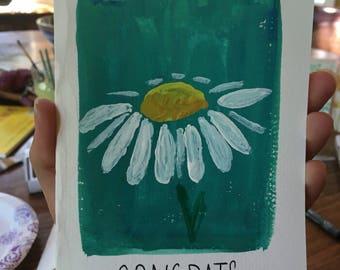 "Daisy ""Congrats"" Hand painted card"