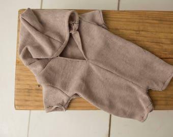 Bradley - Newborn Hooded Romper, Made to Order, Newborn Prop, Photography Prop, Photo Prop