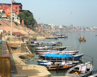 View from ghats (steps to river), Varanasi, India. Digital download photography