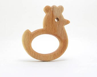 Organic Wooden Teether. Teether Сhicken. Natural Baby Toy. Newborn gift.