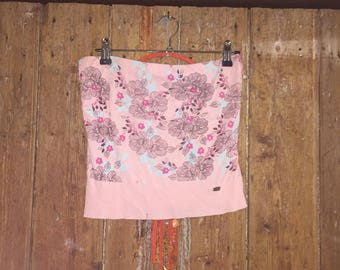 Vintage 90s Floral Baby Pink Boob Tube/Bandeau/Strapless Top