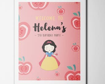 Snow White Poster / Birthday Party Welcome Sign / Poster decoration