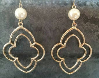Gold Clover Dangle Earrings