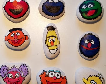 Handpainted Sesame Street River Rocks