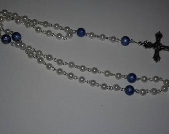 Synthetic pearl rosaries with silver findings