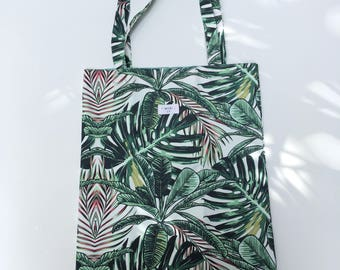 Green Leaves Print Tote