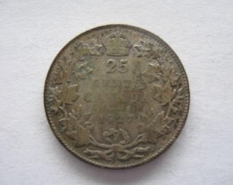 1927 Canadian Silver quarter, VG-8 Very Good condition, Rare