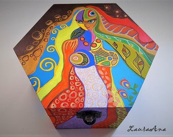 Hand painted wooden box, unique, jewellery box