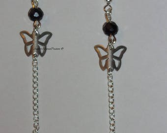 Butterfly and swaroski crystal earrings.