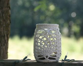 Luminaries, candle holders, unique, handmade, crocheted Americana art