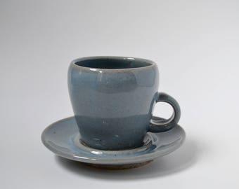 Blue Celadon Teacup with Saucer