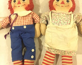 "Vintage Knickerbocker Raggedy Anne and Andy Dolls 15"""