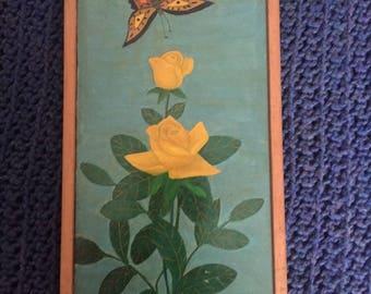 Lawrence Lebduska, Flower Painting w/Butterfly, Oil on Masonite, 1965